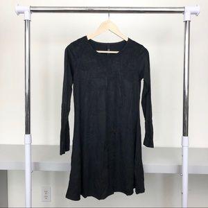 Jolie Black Faux Suede Long Sleeve Mini Dress